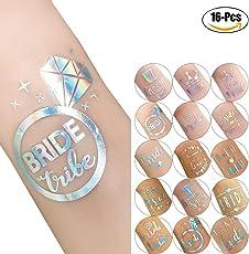 Kapmore Body Tattoos, 16Pcs Party Temporary Body Sticker Glitter Bride Tribe Heart Body Tattoos for Wedding Multicolor
