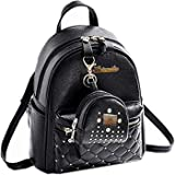 icemart® Women Cute Small Backpack With Small Pouch (IC-0123, Black)