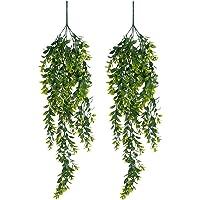 YQing 2 Pièces Artificielle Fougère Plantes Grimpantes Vigne, Plastique Buis Plante Suspendue Fougère Intérieure…