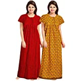 NEGLIGEE Women's Cotton Embellished Maxi Nighty (GW2C0607_Red & Yellow_Free Size)