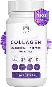 Colageno con Magnesio 4-EN-1 (60 DIAS), Acido Hialuronico, Vitamina C, Vitamina D3 180 Comprimidos, Hidrolizado PEPTAN, Artic