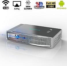 LED Beamer, 1280x800 3D Android Smart Projektor, 3800 Lumens Full HD 1800P DLP Link Videoprojektor mit HDMI/USB/TF für Laptop Fernseher Smartphone