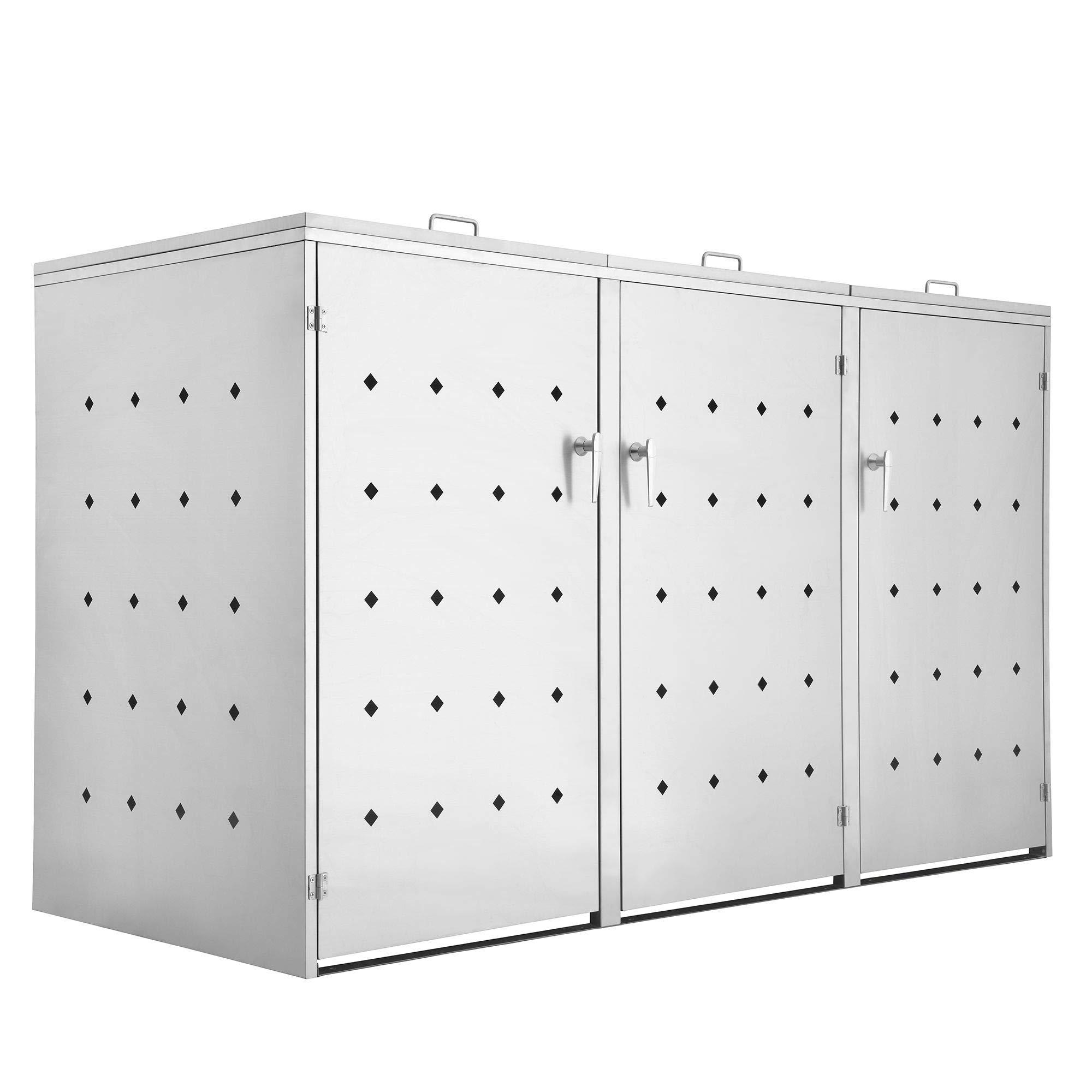 Zelsius Edelstahl Mülltonnenbox Rhombus für 3 Mülltonnen je 120 und/oder 240 Liter, Mülltonnenverkleidung mit 3 Klappdeckel, Metall Müllbox, abschließbar