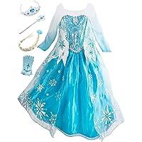 Eleasica Petites Filles Robe Longue Déguisements Manches Longues Princesse Elsa Reine des Neiges Costume et Accessoires…