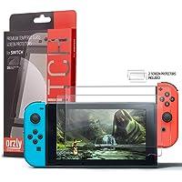 Protection écran pour Nintendo Switch en Verre Trempé par Orzly - PACK DE 2 FILMS - Premium Ultra Résistant en Verre Trempé - Oléophobe 100% Transparent