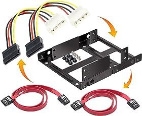 iParn Bracket Mounting Kit Dual 2.5 Inch to 3.5 Inch Internal Hard Drive Holder SSD/HDD Metal Tray Bracket-35252