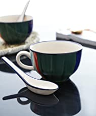 Kittens Contrast Striped Soup Bowls With Ceramic Spoon