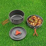Camping Kochgeschirr-Set Outdoor Geschirr- ODOLAND 8-teiliges Topf und Pfanne aus leichten Aluminium und Edelstahl-faltbare Löffel und Gabel Topf-Pfannenset für 1-2 Personen zum Camping Outdoor Wandern Picknick BBQ -