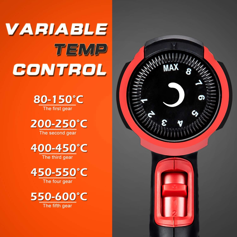 Velocidad del Viento 8 Acesorios para Raspar la Pintura AREWTEC 2000W Decapadora Professional Temperatura Adjustable 80~600℃ Pistola de Aire Caliente 300-500L//min Deformar Tubos y Encoger PVC