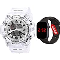 Acnos Brand - A Digital Watch with FRE Square LED Shockproof Multi-Functional Automatic 5 Color Dial White Strap…