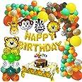 MMTX Giungla Decorazioni Festa di Compleanno Palloncino, Safari Buon Compleanno Feste Palloncino Decor con Lattice Palloncino