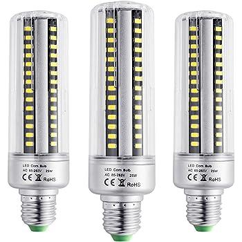 BOGAO Bombillas led E26/E27 96 LEDs, 5736 SMD, 25W, estilo mazorca, ahorro de energiacute; con cubierta, 2000LM, AC 230V, no atenuable, 3 unidades, ...
