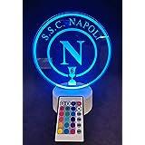 Lampada Napoli Coppa Italia 3D LED RGB 7 Colori con Telecomando Senza Fili Personalizzata