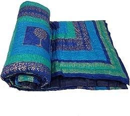 Mahadev Handicrafts Cotton Single Bed Jaipuri Razai Quilt Light Weight - Floral, Blue