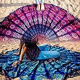 Folkulture - Lot de 2 mandalas en coton - Mandalas ronds - Style hippie et indien - Idéales pour pique-nique, plage, yoga, méditation - 183 cm - Couleurs: bleu et rose