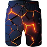 ALISISTER Mens Boy Swim Trunks 3D Print Quick Dry Summer Surf Beach Board Shorts with Mesh Lining