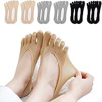 Toe Socks Women - 5/6 Pair Orthopedic Compression Socks Invisible Socks No Show Socks Non Slip Silk Five Finger Socks…