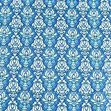 Weiß Damast Stil Mustern auf Blau führenden Marke 100%