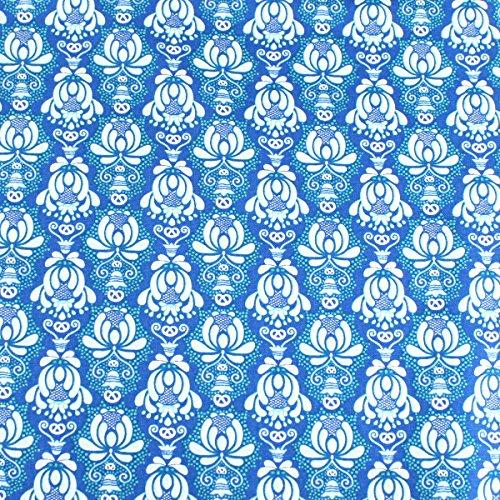 Weiß Damast Stil Mustern auf Blau führenden Marke 100% Baumwolle Fat Quarter FQ Quilten, Wimpelkette, Craft Stoff fq124b (Blau Und Weiß Fat Quarter)