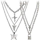 Holylove Eboy Chain Necklace - Statement Lock Pendant Necklace Sliver Set Egirl Long Multilayer Chains Punk Choker 2 Piece fo