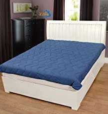 Home Elite Solid Microfiber Double Mattress Protector - Blue