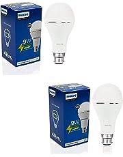 Philips Inverter Bulb 9 Watt Rechargeable Emergency LED Bulb for Home, Pack of 2, Cool Daylight, Base B22