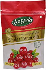 Happilo Premium Californian Dried and Sweet Whole Cranberries, 200g