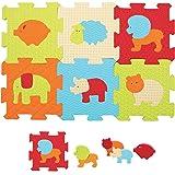 LUDI - Puzzle géant pour l'éveil de bébé. 9 Petites Dalles aux Motifs Animaux et 11 éléments de Jeu. pour Les Enfants de Plus