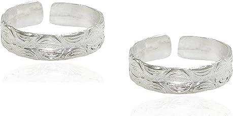 Frabjous Lovely Pair of White Polished Plain German Silver Adjustable Toe Ring for Women