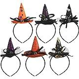 KATOOM Diadema de Bruja Halloween 6PCS Hairband de Disfraces Mini Sombrero de Bruja con Plumas y Velo para Decoración de Fies