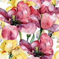 Pitaara Box Purple Tulips & Yellow Irises Canvas Painting MDF Frame 12 X 12Inch