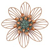 Funly mee - Decorazione da parete in metallo vintage, motivo floreale, in rame, 30,5 x 30,5 x 3 cm