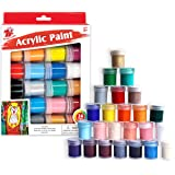 TBC The Best Crafts Creative Acrylic Paint Set, 24 Basics Colors with Bottles (15ml/0.5oz), Rich Pigments, Non Toxic for Scho