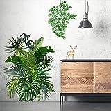 Sticker Mural Bricolage Muraux Tropicaux Plante Feuille Palmier Autocollants Mur Etanche Amovible pour Portes Chambre Mur Fen