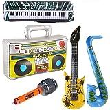 Yojoloin 5 UNIDS Inflables Guitarra Saxofón Micrófono Boom Box Instrumentos Musicales Accesorios para Fiesta Suministros Favo