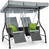 Blumfeldt Concordia • Hollywoodschaukel • Gartenschaukel • aus massivem Stahlrohr • 2 getrennt aufgehängte Sitze aus Polyrattan • max. Belastbarkeit: 250 kg • Sonnendach • 6 cm dicke Polsterung • grau