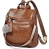 Rucksack Damen Klein, VASCHY Diebstahlsicherer Rucksack Wasserabweisend Kunstleder Casual Daypack Elegant Handtasche Schulruc