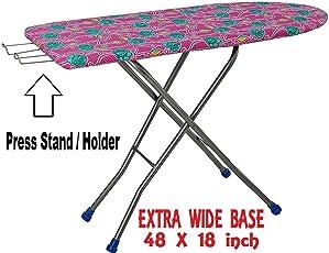 Kisha Heavy Folding Large Ironing Board Stand with Iron Holder (Multicolour, PEC00580)