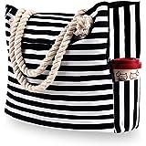 Damen Strandtasche Große, XXL Familie Segeltuch Umhängetasche, Beach Bag für Reisen, Strand, Schwimmbad