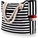 Large Canvas Beach Bag with 4 Inner Pockets for Gym, Swim, Camping, Summer Travel Holiday