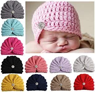 Christening Gift #6 Costume Party Birthday CHSEEA 7PCS Cute Baby Hat Set Elastic Turban Headbands Hair Wraps Hairbands Hair Bow For Toddler Kids Photography Props Great Baby Shower