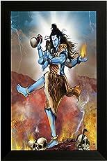 EK Number Angry Shiva Design Framed Painting(Size 22CM x 3CM x 30CM)