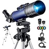 BEBANG Telescopio Astronomico -70mm Telescopio Rifrazione con Specchio Diagonale a 45 ° Può Correggere le Immagini, con…