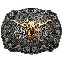 Golden Longhorn Bull Western Belt Buckle