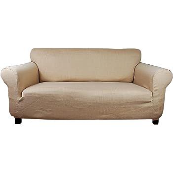 Amazon.de: Stretchhusse (beige-creme) Hussen für Sofa 2 sitzer ...