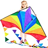 HONBO Large Delta Kites 54x31 For Kids and Adults For Beach Trip Outdoor games,Perfect for Beginners,String Line Included Toy