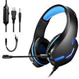 GAMURRY Cuffie Gaming per PS4,Gaming Headset,Cuffie da Gioco con Cavo USB Audio Jack 3,5 mm,Cuffie Over Ear con Microfono Luc