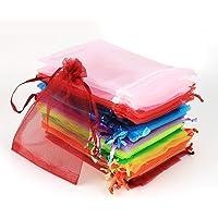 ABSOFINE 100 Pz Sacchetti Regalo in Organza 10x15cm Bustine Colorati Buste Favore Nozze Bomboniere per Matrimonio Festa…