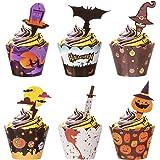 Diealles Shine Decoration Gateau Halloween, 48 Pièces Halloween Gâteau Wrappers pour Halloween Cupcake Patisserie, Halloween
