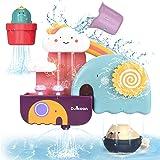GILOBABY Juguetes Bañera,Kit de Juguetes Baño para Niños con Taza y Oso y Cactus,Regalos para niños y niñas de 1 2 3 4 5 6 añ